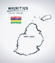 Mauritius vector chalk drawing map isolated on a white background