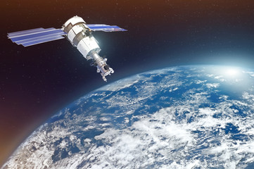Papiers peints Nasa Research, probing, monitoring of in atmosphere. Satellite above the Earth makes measurements of the weather parameters. Elements of this image furnished by NASA.