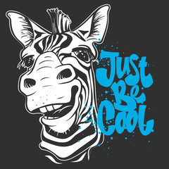print with zebra images and text, t-shirt design