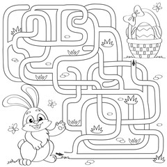 Help little bunny find path to Easter basket with eggs. Labyrinth. Maze game for kids. Black and white vector illustration for coloring book