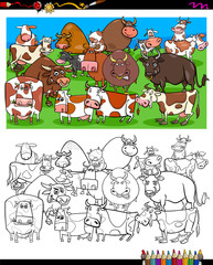 cows and bulls characters coloring book