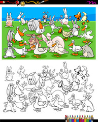 ducks and rabbits characters coloring book