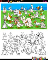 ducks and rabbits characters coloring book