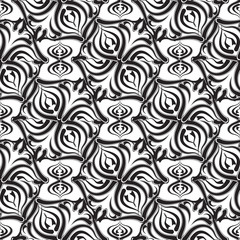 Floral  vector seamless pattern. White background with black abstract hand drawn flowers, shapes, leaves, curves, swirls. Monochrome design. Template for fabric, textile