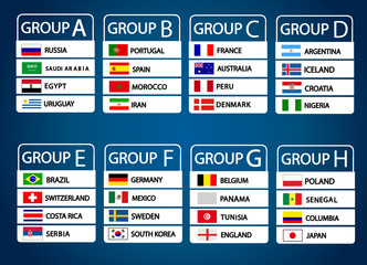 Football World championship groups. Vector country flags.