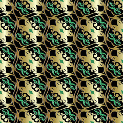 Vintage gold vector seamless pattern. Baroque background. Victorian style ornate design. Surface texture. Golden green ornaments on the black background. Decor elements with shadows and highlights.