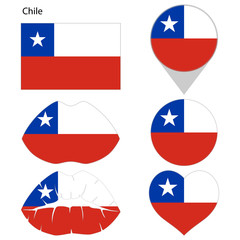 Flag of Chile, set. Correct proportions, lips, imprint of kiss, map pointer, heart, icon. Abstract concept. Vector illustration on white background.