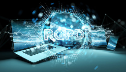 Digital GDPR interface over tech devices 3D rendering