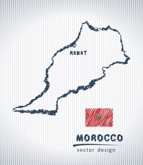 Morocco vector chalk drawing map isolated on a white background
