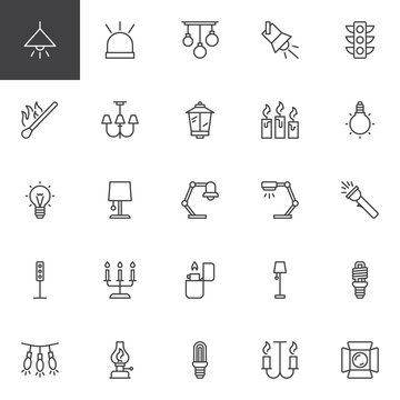 Light outline icons set. linear style symbols collection, line signs pack. vector graphics. Set includes icons as Lamp, Flasher, Traffic light, Match, Candles, Lightbulb, Flashlight, Lighter Lantern