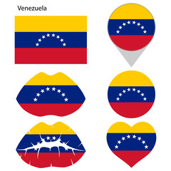 Flag of Venezuela, set. Correct proportions, lips, imprint of kiss, map pointer, heart, icon. Abstract concept. Vector illustration on white background.
