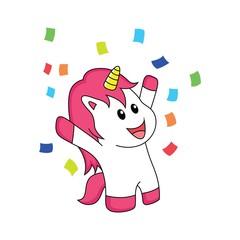The unicorn is celebrating happiness