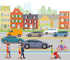 Stadt mit Autoverkehr und Fußgänger, Illustration
