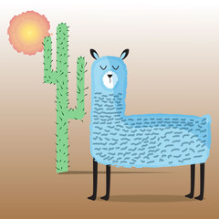 Cute blue Alpaca or blue Lama, big cactus and dim sun. Farm animal. Children's cartoon character