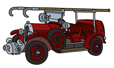 The vintage red fire truck