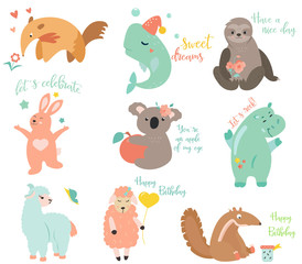 Big vector set of funny cartoon animals