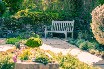 Summer garden with wooden bench, decorative stones and spring green leaves lit by sunset light.