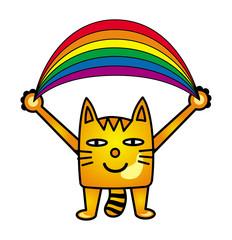 A cartoon cat holds a rainbow. Positive joyful drawing. Vector graphics.