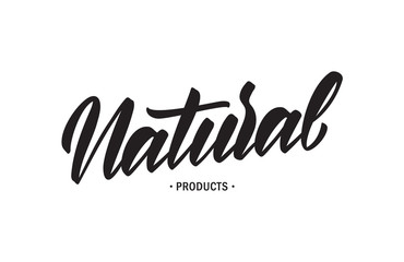 Handwritten lettering of Natural Product.