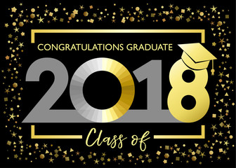 Class of 2018, congratulations graduating golden glitter card. Class of 2018 graduate vector illustration graphics for decoration with red and blue colored for design cards, invitations or banner