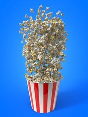 throwing bucket of popcorn. 3d illustration