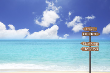 Wooden blank sign with text Travel and office and summer and holidays , blue sea and sand beach with airplane over the sea , Vacation and Inspiration Concept.