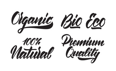 Set of Handwritten type lettering of Eco, Organic, Bio, Premium Quality, Natural products