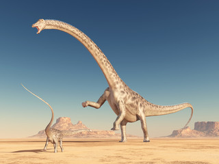 Dinosaurier Diplodocus in der Wüste
