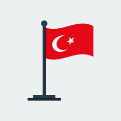 Flag Of Turkey.Flag Stand. Vector Illustration