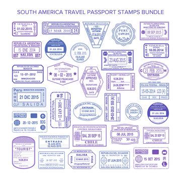 Vector South America colour travel visa stamps set