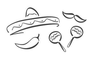 Had drawn set of Mexican symbols. Cinco de Mayo design elements