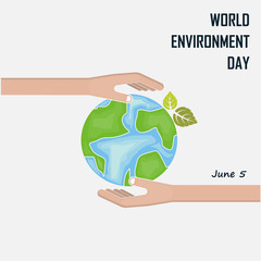 World Environment day concept vector logo design template.June 5st World Environment day concept.World Environment day Awareness Idea Campaign.Vector illustration.