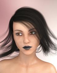 Junge Frau mit wehenden Haaren