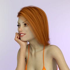 Model mit braunen Haaren in lässiger Pose
