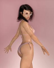 Posierende Frau mit Sonnenbrille im Bikini