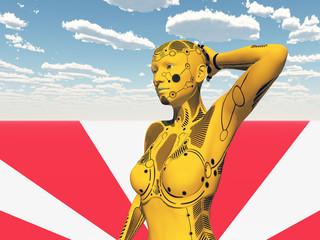 Humanoider Roboter mit Pose