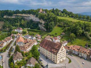 Aerial view of old medieval city of Fribourg in Switzerland on a beautiful summer day