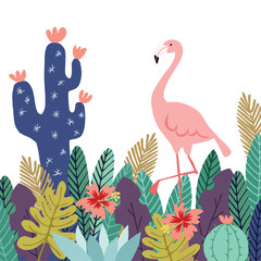 Summer tropical background, banner. Flamingo bird with cactuses, succulent plants, palm leaves and flowers. Stock vector illustrations, flat design.
