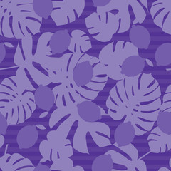 Seamless background in tropical fruit and palm leaves. Cute cartoon. Vector illustration. Textile rapport.
