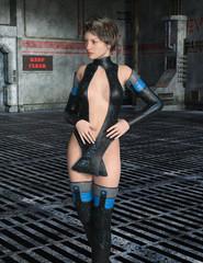 Frau mit futuristischer Kleidung