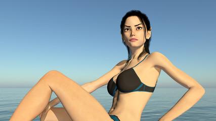 Unterwäsche Model am Meer