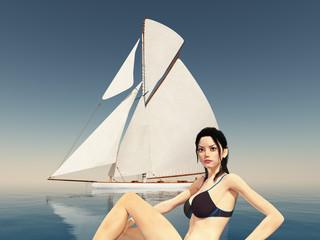 Attraktive Frau im Bikini und Segelyacht