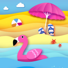 Giant inflatable pink flamingo in paper cut style. Beach Parasol - umbrella. Origami Pool float toy on the sunny beach with sand and crystal clear blue sea water. Beachball, flipflop. Summer holidays.