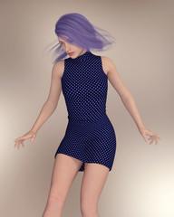 Frau mit violetter Haarfarbe und wehenden Haaren