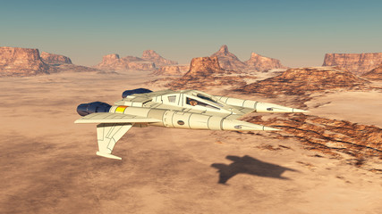 Raumfahrzeug über einer Sandwüste