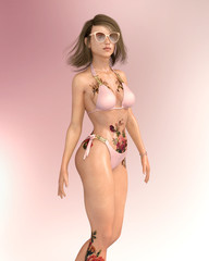 Attraktive Frau im Bikini mit Sonnenbrille und Tattoo