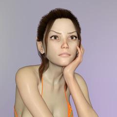 Model im Bikini in lässiger Pose