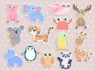 Cute animal sticker set