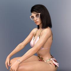Model im Bikini mit Sonnenbrille