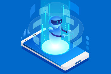 Technology for talk digital call. Creative virtual engineering mobile, ai concept. Can use as clipart or sticker for web banner, infographics, hero images. Flat isometric vector illustration.